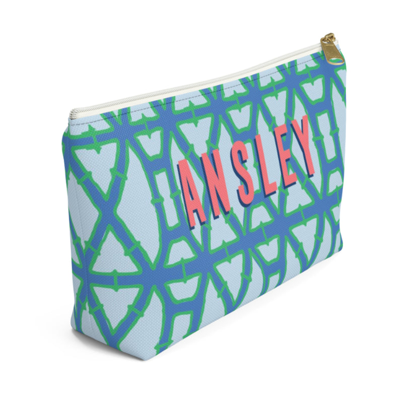 Bamboo Blue Small Zippered Pouch