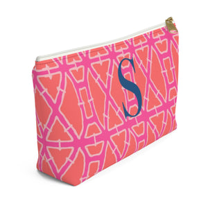 Bamboo Pink Large Zippered Pouch