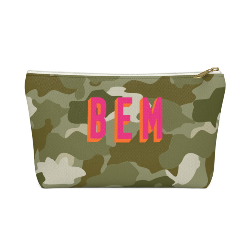 Camo Green Large Zippered Pouch