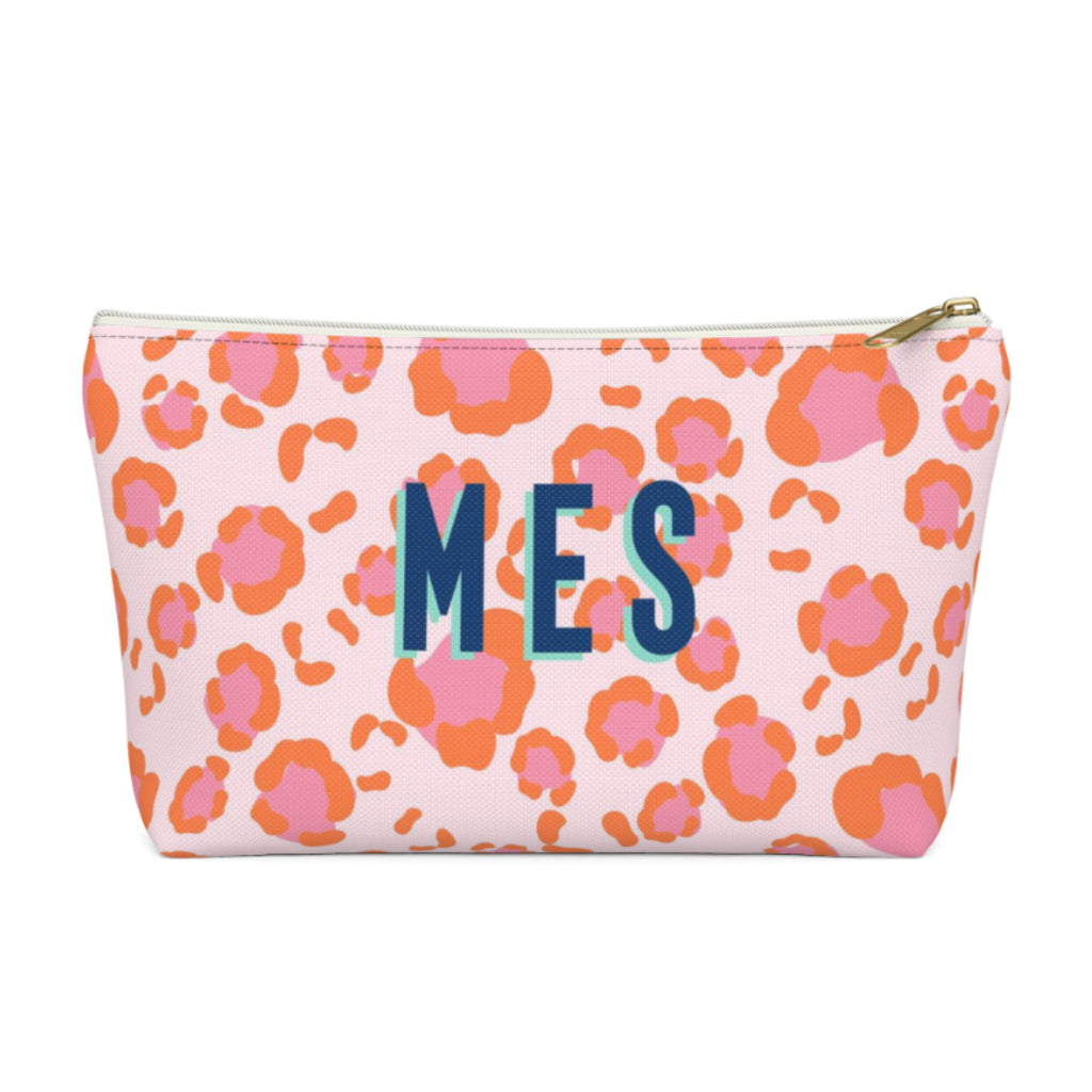 Leopard Spots Pink Large Zippered Pouch