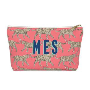 Leopard Coral Large Zippered Pouch