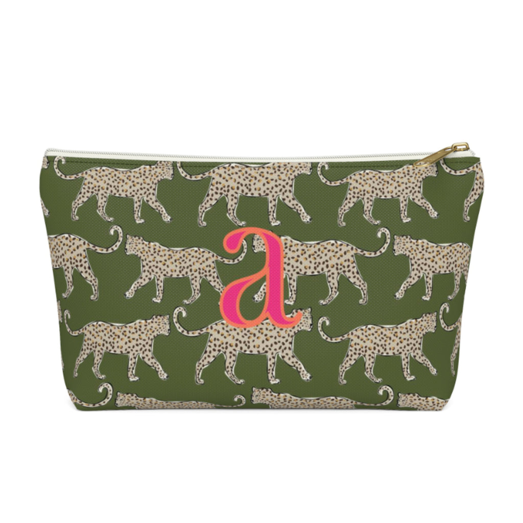 Leopard Green Large Zippered Pouch