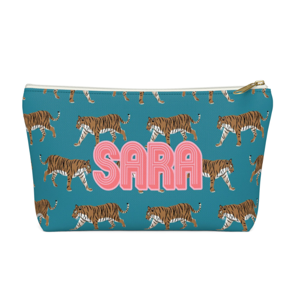 Tiger Blue Large Zippered Pouch