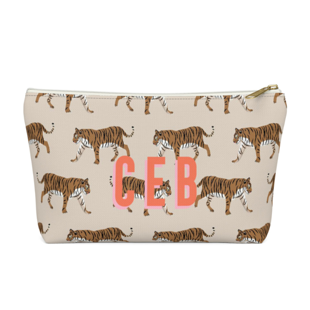 Tiger Natural Large Zippered Pouch