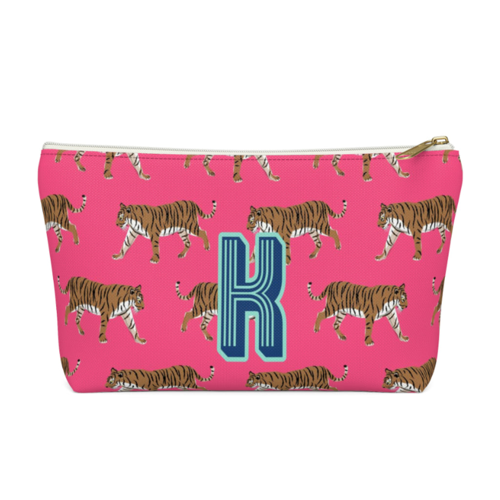 Tiger Pink Large Zippered Pouch