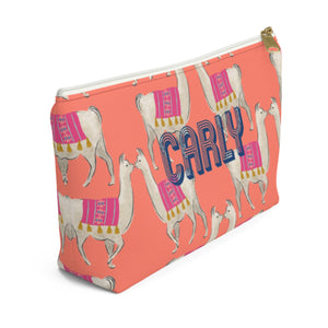 Llama Coral Small Zippered Pouch