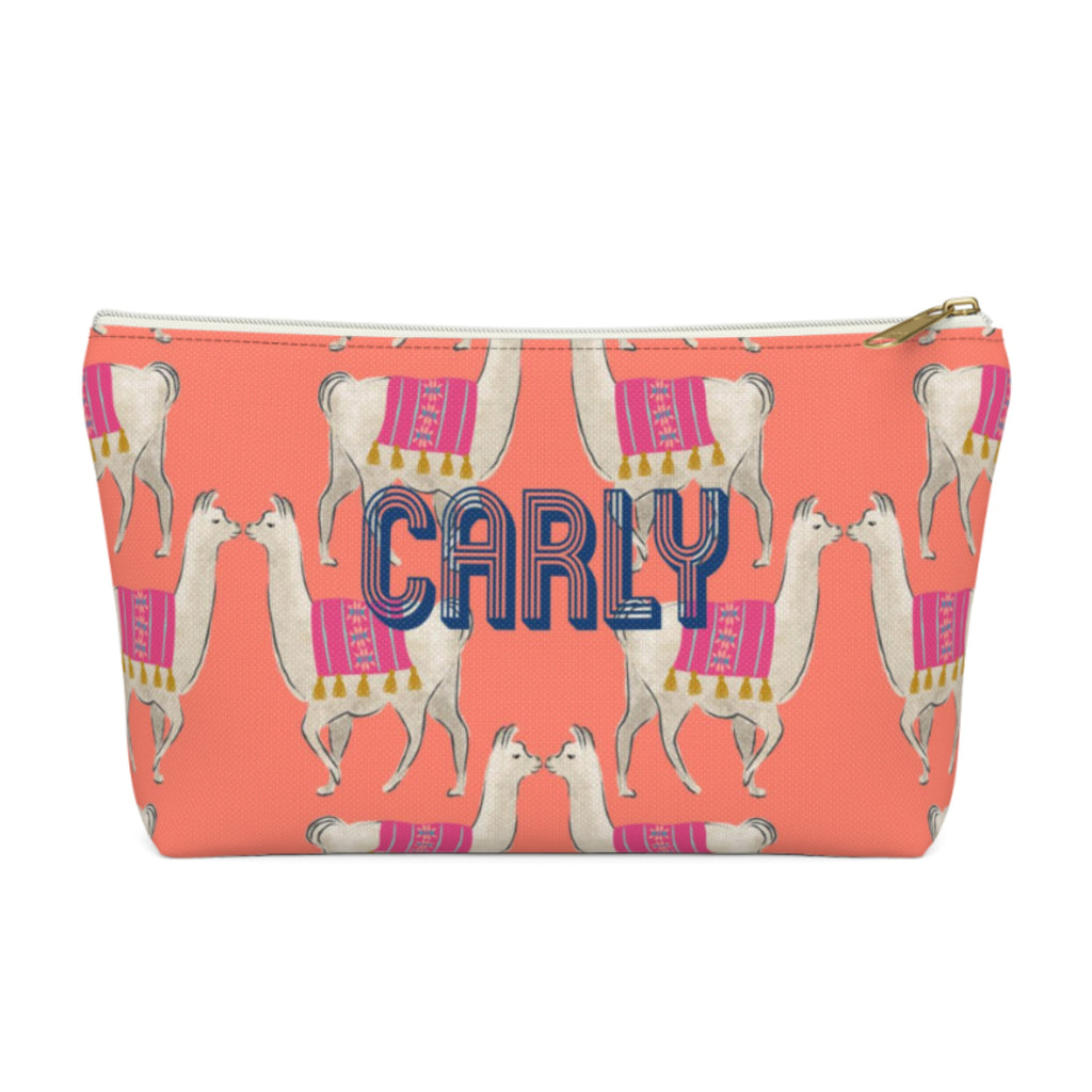 Llama Coral Large Zippered Pouch