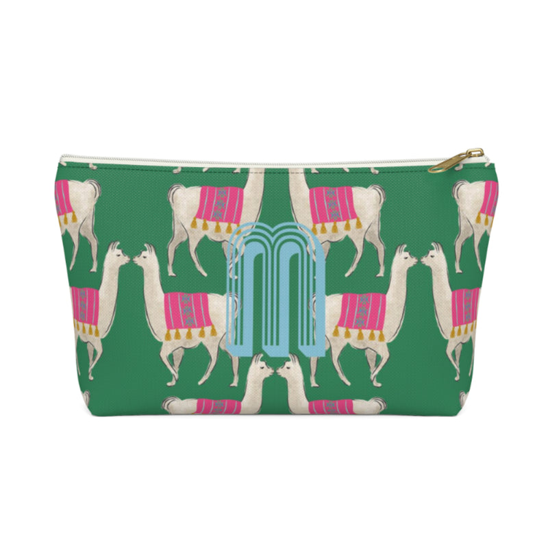 Llama Green Large Zippered Pouch