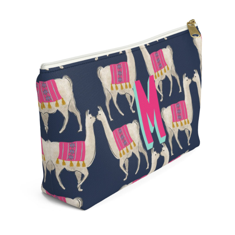 Llama Navy Large Zippered Pouch