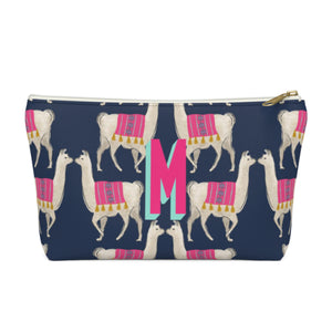 Llama Navy Small Zippered Pouch