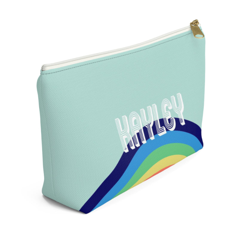Rainbow Blue Large Zippered Pouch