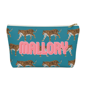Tiger Blue Small Zippered Pouch