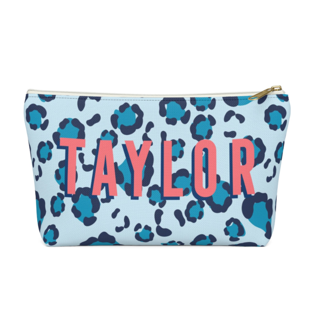 Leopard Spots Blue Large Zippered Pouch