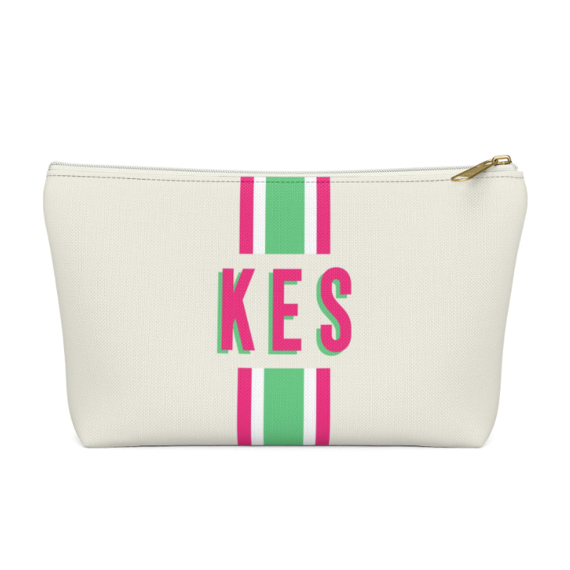 Stripe Green/Pink Small Zippered Pouch