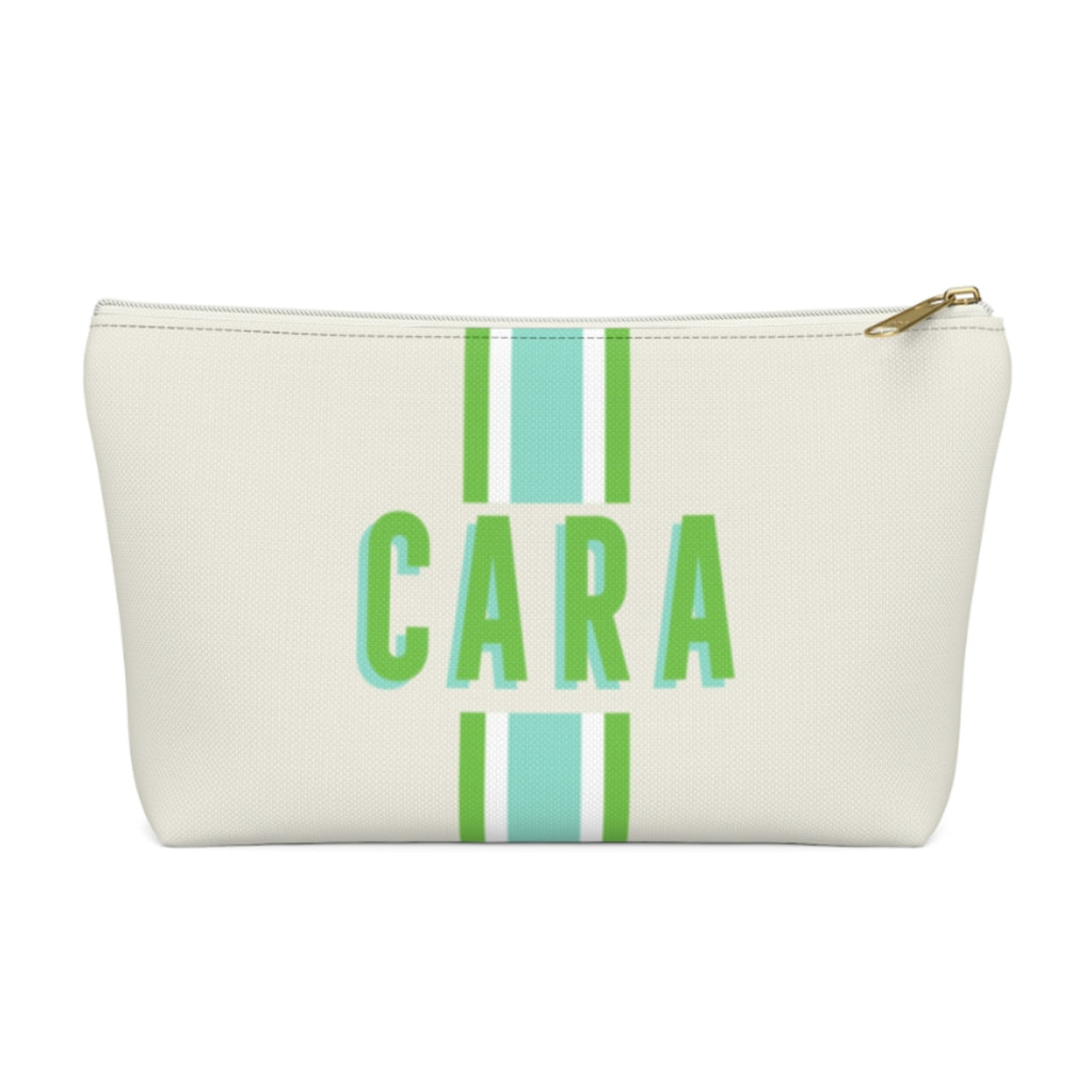 Stripe Limeaide Large Zippered Pouch