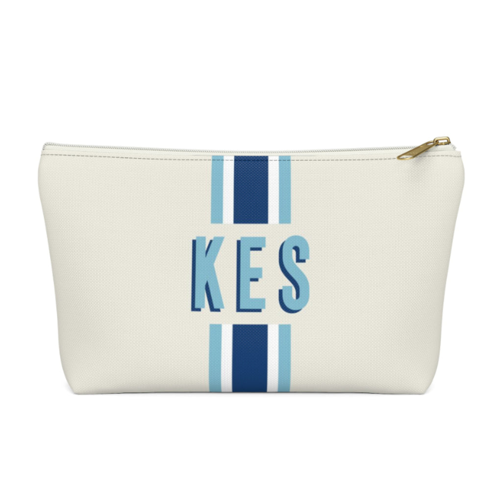 Stripe Navy/Blue Large Zippered Pouch