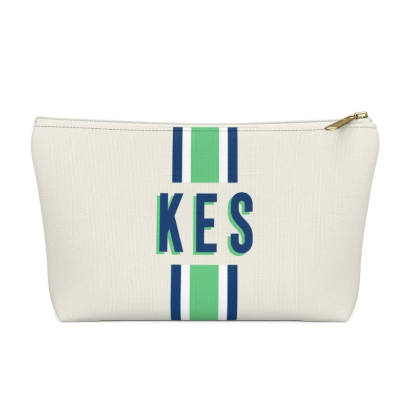 Stripe Green/Navy Large Zippered Pouch