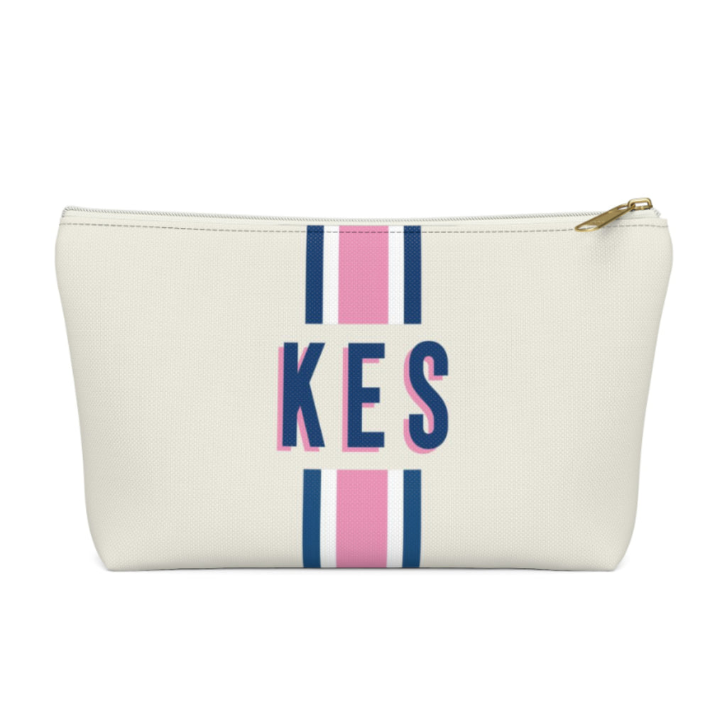 Stripe Pink/Navy Large Zippered Pouch
