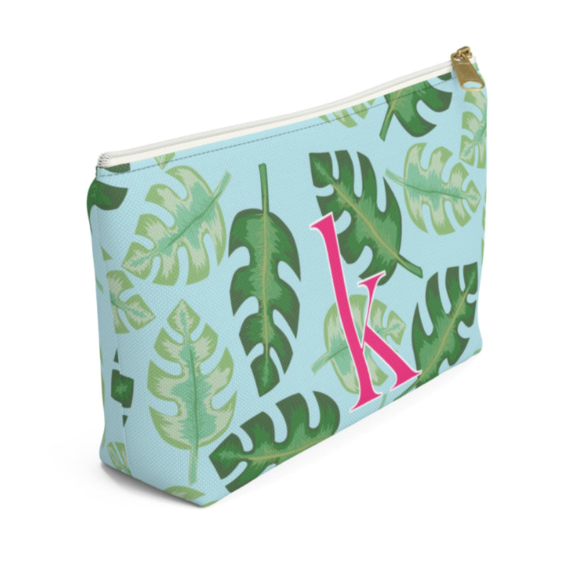 Tropical Blue Large Zippered Pouch