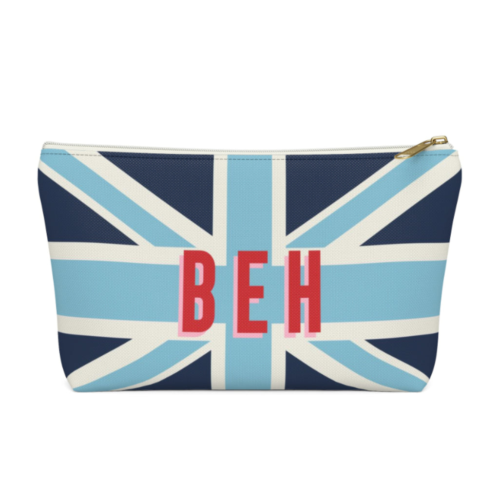 Union Jack Blue Large Zippered Pouch