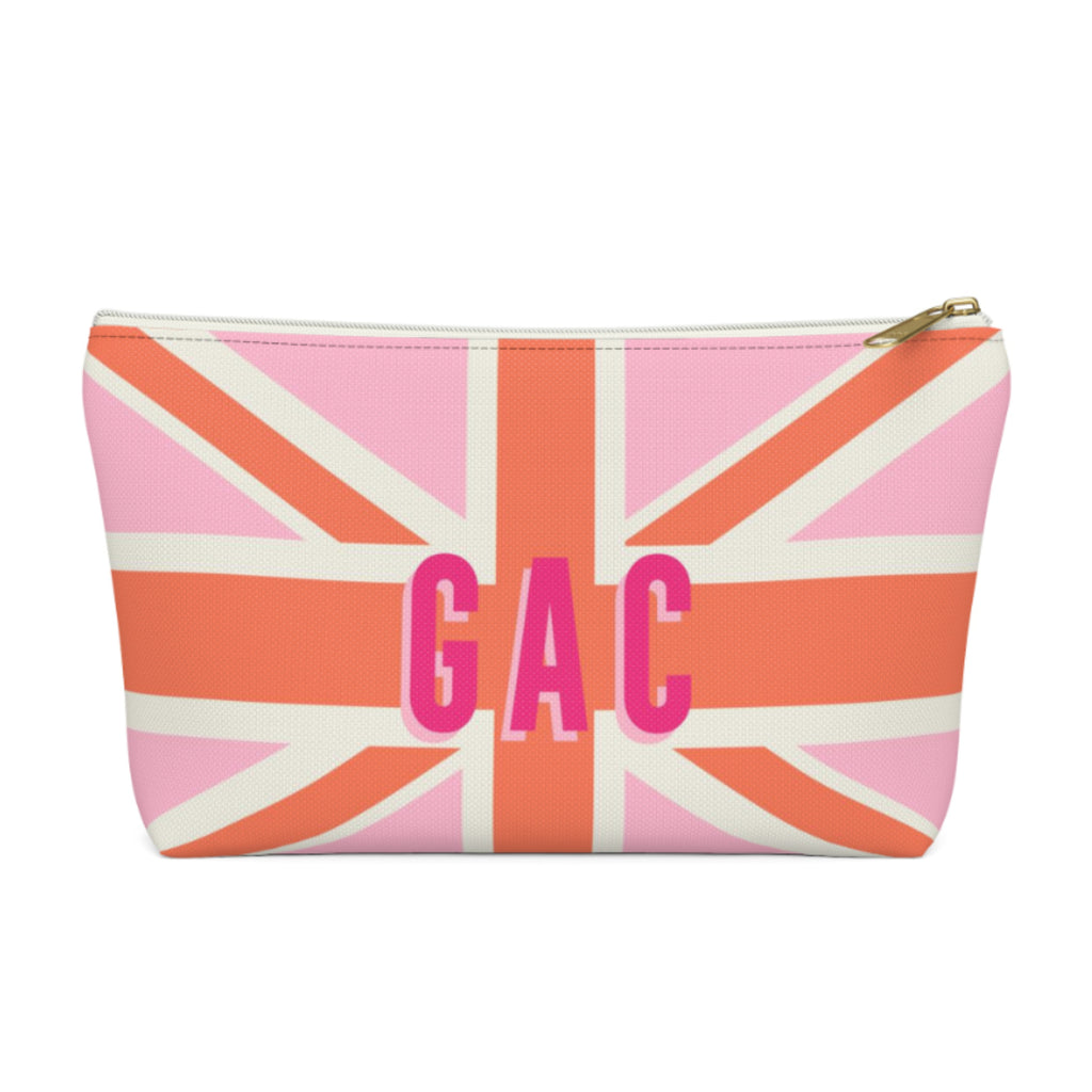 Union Jack Pink Large Zippered Pouch
