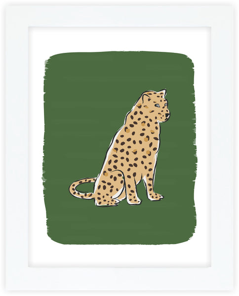 Leopard at Rest Green Art Print