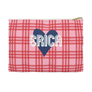 Plaid & Heart Small Zippered Clutch