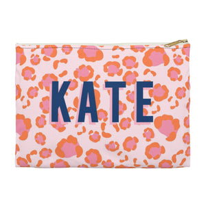 Leopard Spots Pink Large Zippered Clutch