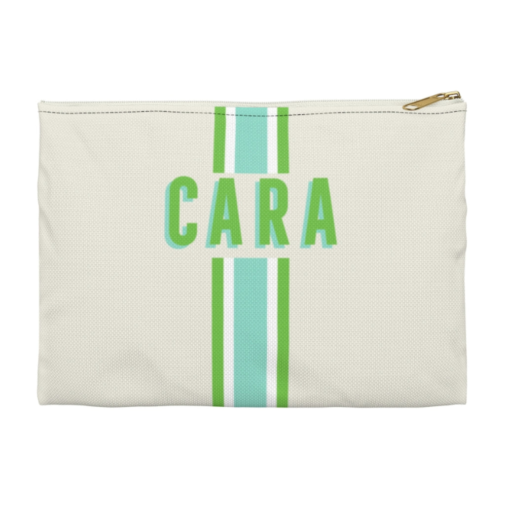 Stripe Limeaide Large Zippered Clutch