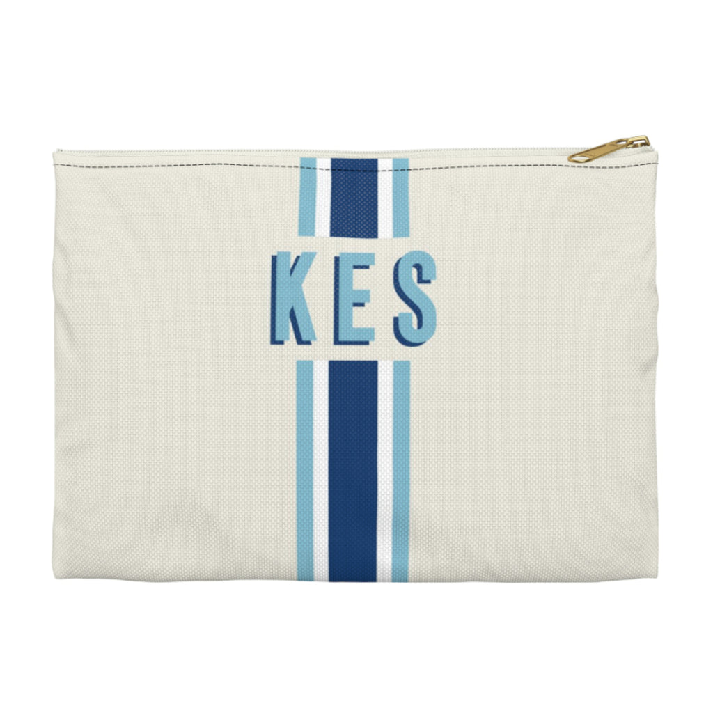 Stripe Navy/Blue Small Zippered Clutch