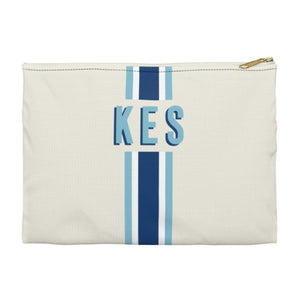 Stripe Navy/Blue Large Zippered Clutch