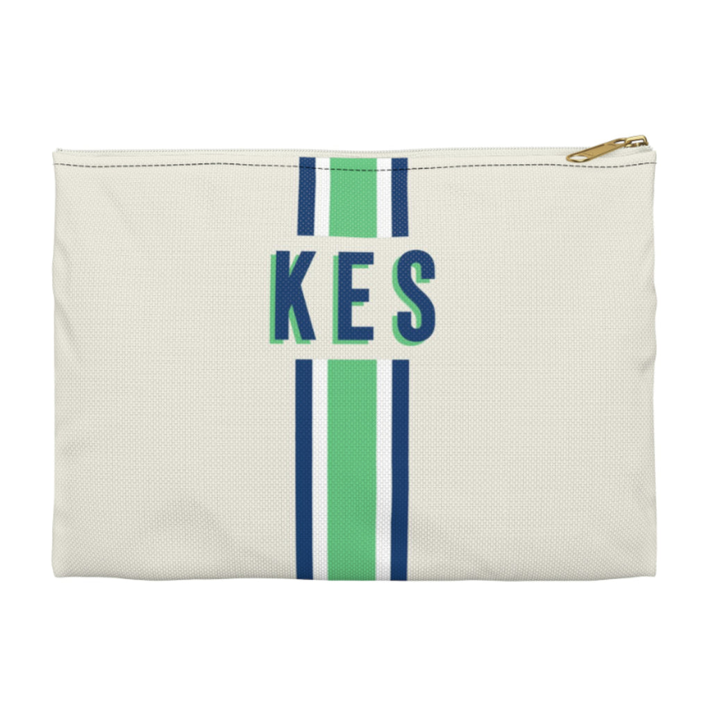 Stripe Green/Navy Large Zippered Clutch