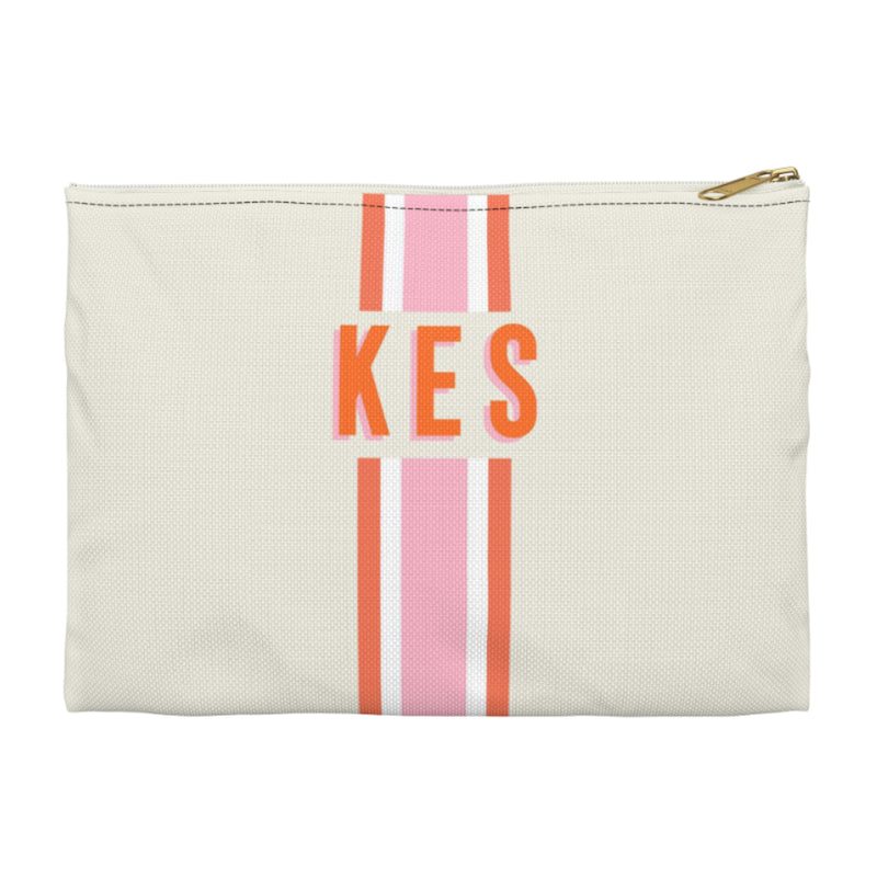 Stripe Pink/Orange Large Zippered Clutch