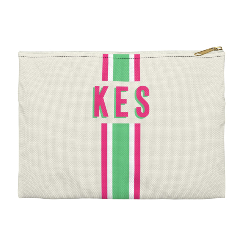Stripe Green/Pink Large Zippered Clutch