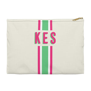 Stripe Green/Pink Small Zippered Clutch