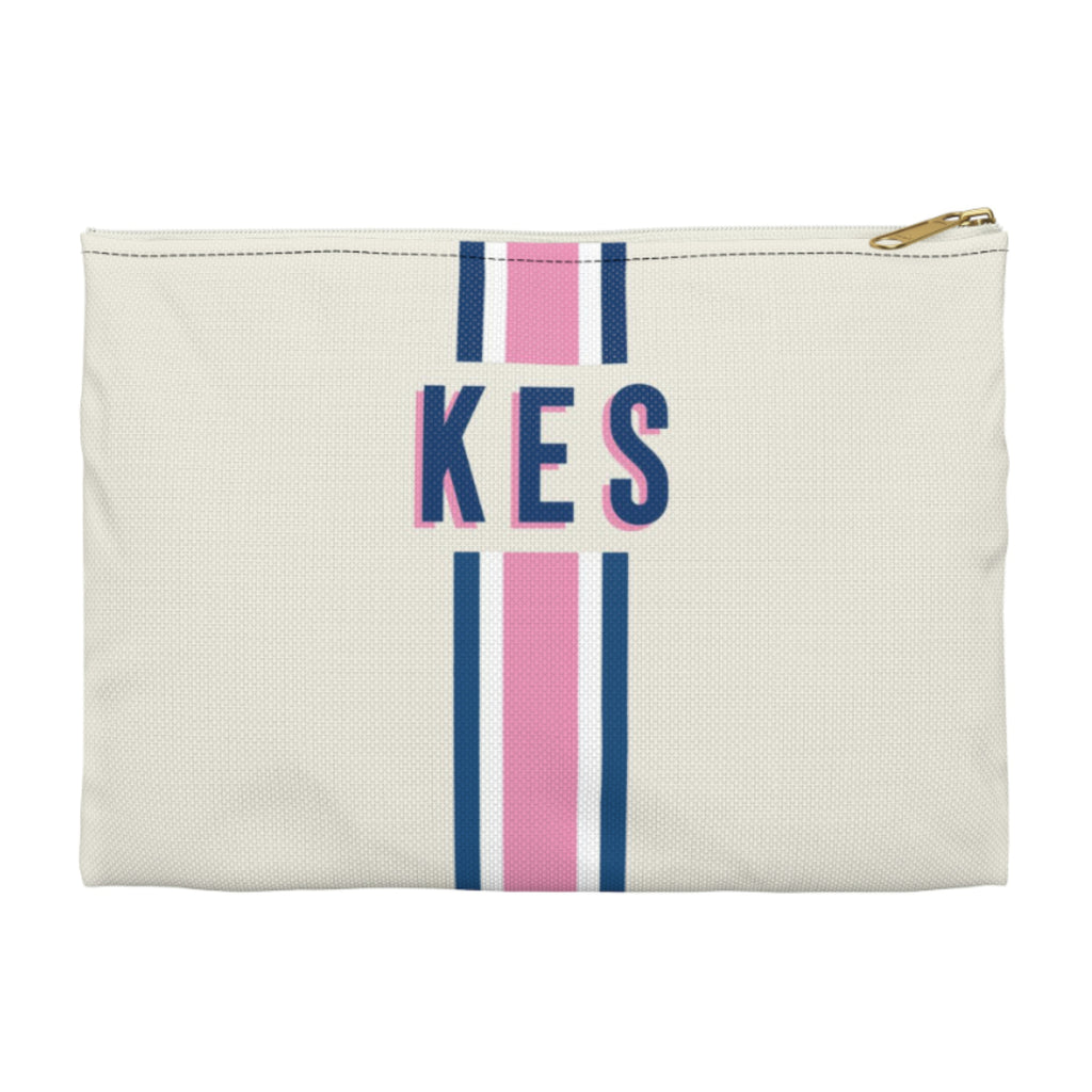 Stripe Pink/Navy Large Zippered Clutch