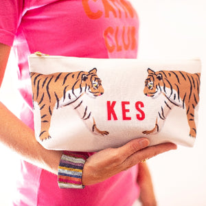 Tiger Duo Large Zippered Pouch