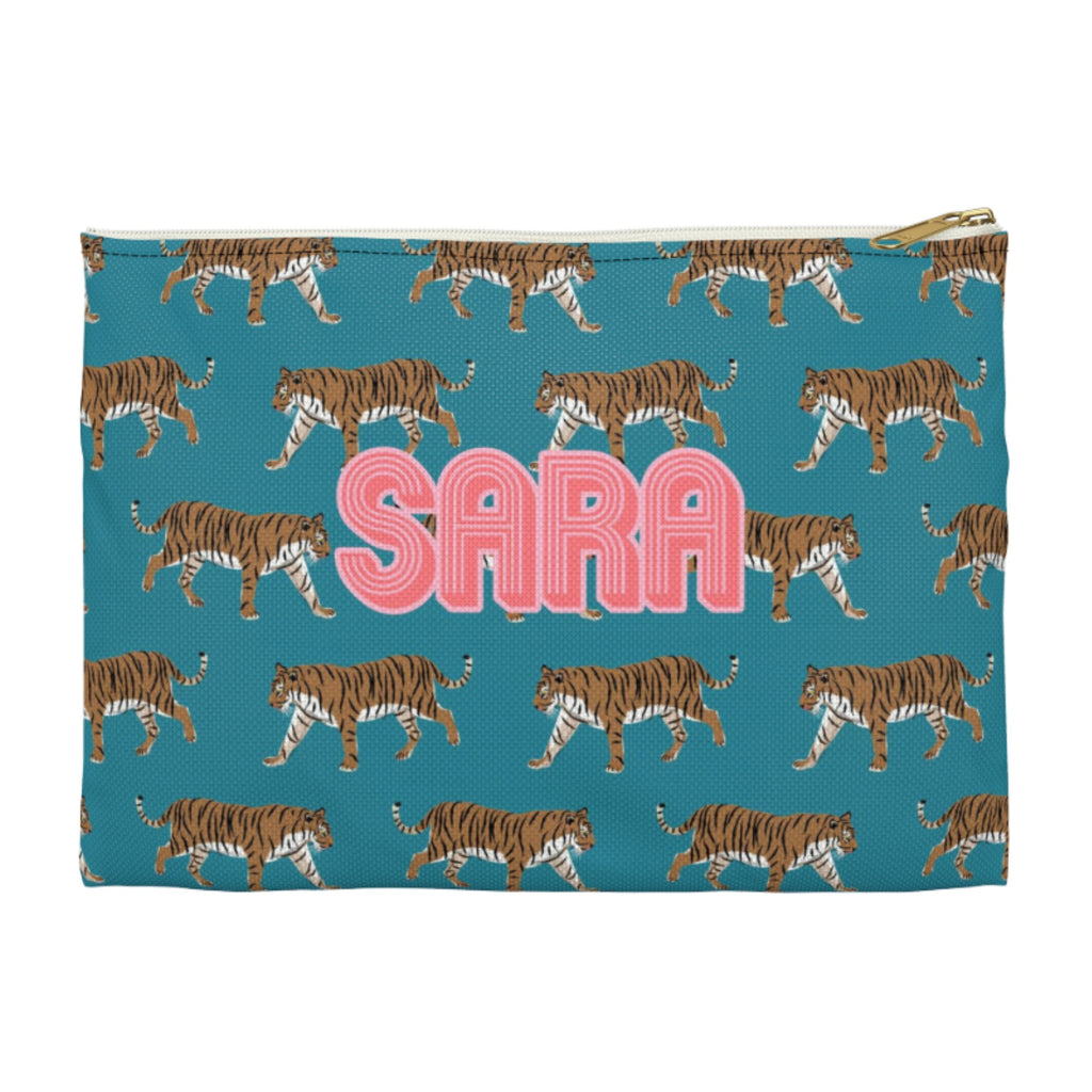 Tiger Blue Large Zippered Clutch