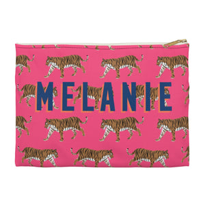 Tiger Pink Large Zippered Clutch