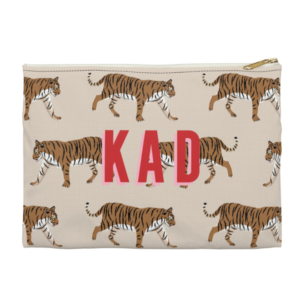 Tiger Natural Small Zippered Clutch