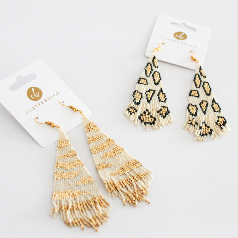 Leopard Spot Fringe Earrings