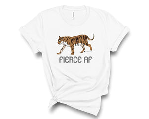 "White, crew neck tee shirt with a tiger and ""fierce AF"""