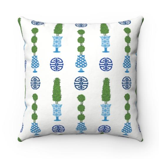 Chinoiserie Topiary Outdoor Pillow