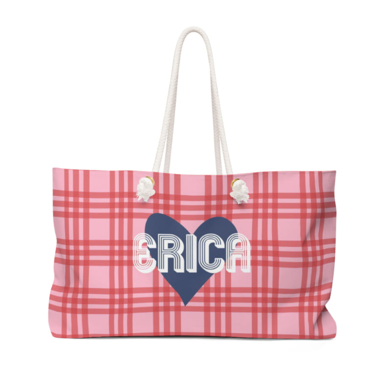 Plaid & Heart Travel Tote