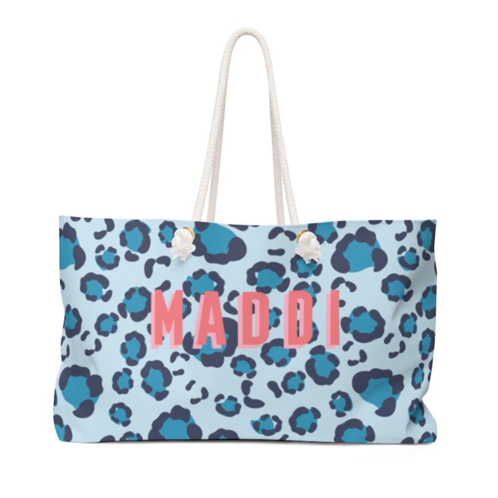 Leopard Spots Blue Travel Tote