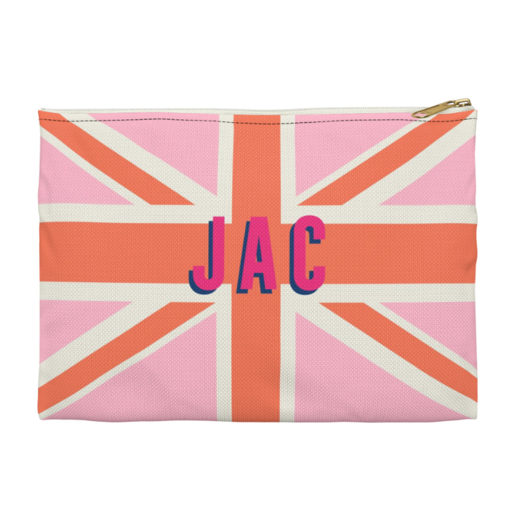 Union Jack Pink Large Zippered Clutch