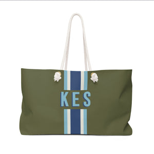 Stripe Army Green/Blue Travel Tote