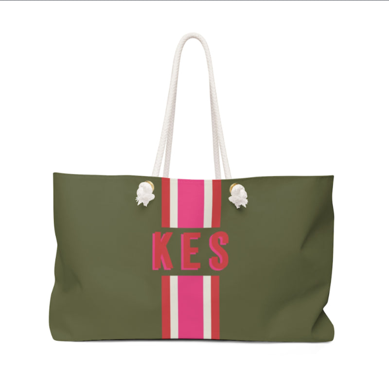Stripe Army Green/Pink Travel Tote