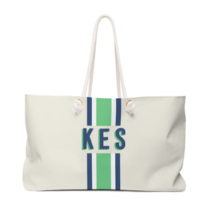 Stripe Green/Navy Travel Tote
