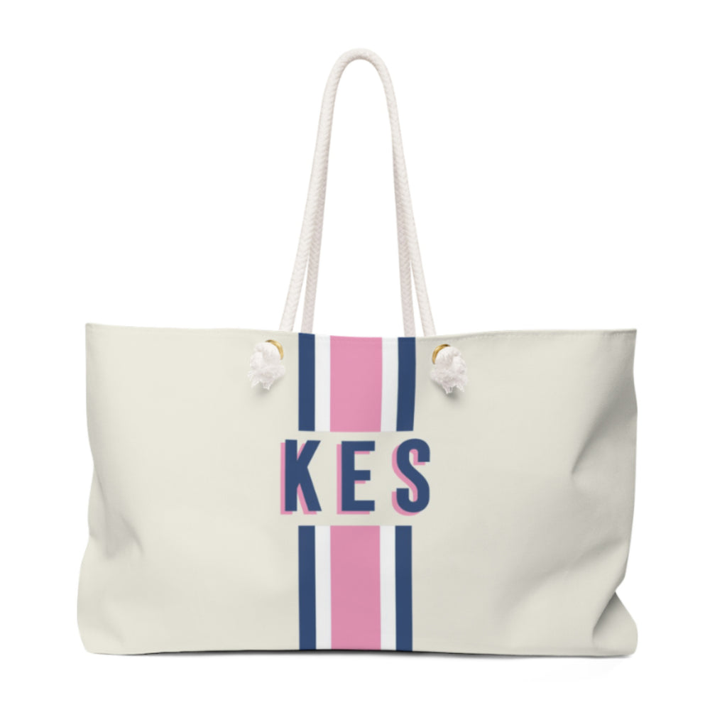 Stripe Pink/Navy Travel Tote